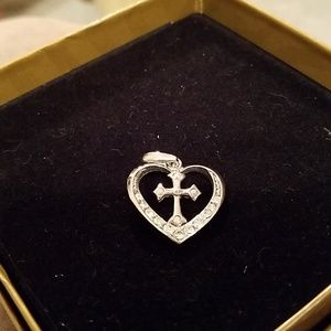Cross in heart pendant